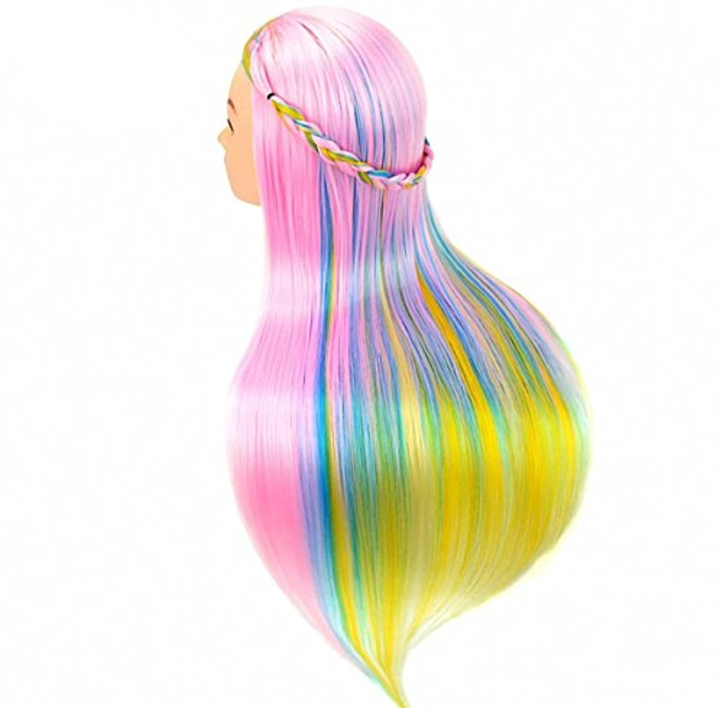 小さい午後劣る[Perfehair] 人工毛100%のサロン練習用マネキンヘッド(24インチ)–レインボーカラー-