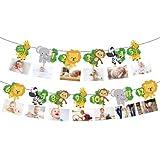 Jungle 1st Birthday Photo Banner Newborn to 12 Month Display Milestone Safari Animals Theme First Year Baby Banner Jungle Par
