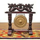 ゴング 銅鑼(どら) 卓上 サイズ B H.28cm アジアン雑貨