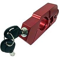 バイク用 ブレーキとハンドルを固定! 簡単操作 ブレーキロック アクセルロック グリップロック 盗難防止 セキュリティ 強化 バイク用品 スペアキー付属 ハンドルロック TEC-STEEROD(レッド)