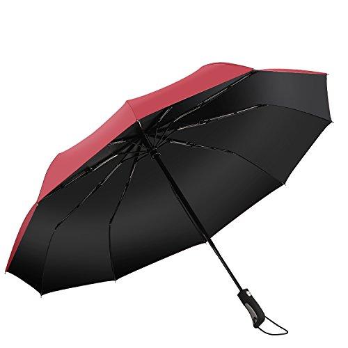 折り畳み傘 ワンタッチ自動開閉 Punming 10本骨 450g 超軽量 300T 高強度グラスファイバー 耐風撥水 晴雨兼用 収納ケース付【赤い】