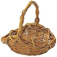 バスケット 紅籐 籐 ラタン かご オーバル カントリー調 持ち手 小物入れ 約35×28×14(32)cm 33-27
