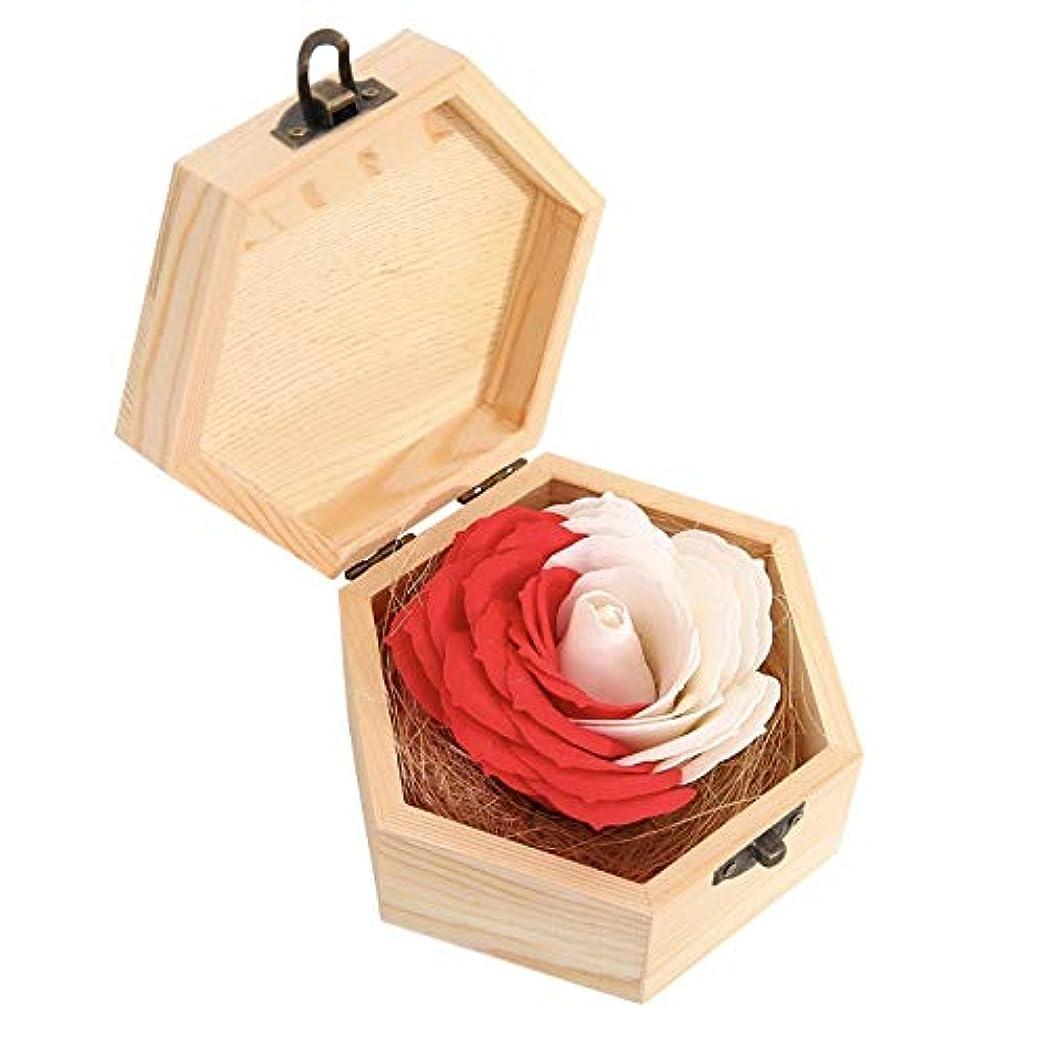 レンダー拍手石のタイガーリー。 バスソープ 花 バラ クリエイティブギフト 木製ボックス付き パーティー用品 レッド