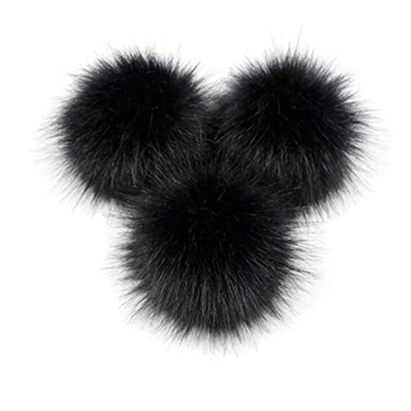 バッジ一族ステーキKongqiabonaかわいいキツネの毛皮のポンポン取り外し可能な毛皮ふわふわボブルボールでプレスボタン用diy帽子キャップバッグ服靴の装飾