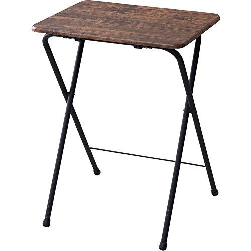 山善(YAMAZEN) テーブル ミニ 折りたたみ式 サイドテーブル 幅50×奥行48×高さ70cm ハイタイプ アンティーク調 ブラウン YST-5040H(ABR)