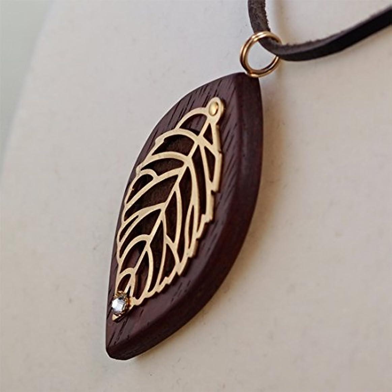 ウェイド取り替える手綱木製オリジナルアロマペンダント 【天使の小瓶】 木の葉(ゴールド)