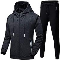 Mens Tracksuit Set, Hoodies Zip Trousers Gym Sports Suit Sets Joggers Pants (Color : Black, Size : S)