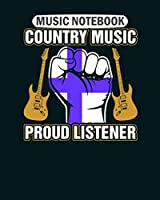 Music Notebook: finnish country music proud listener  Music Sheet- 50 sheets, 100 pages - 8 x 10 inches