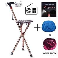 ラジオMP3統合多機能杖杖スツール高齢者三脚杖椅子折りたたみ調整スツール