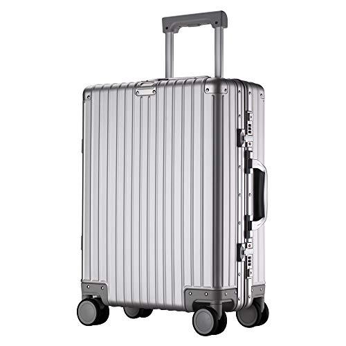 【XDJ Life】 スーツケース アルミマグネシウム合金 レトロ (シルバー, Sサイズ)(機内持込OK・2~3泊用・36L)
