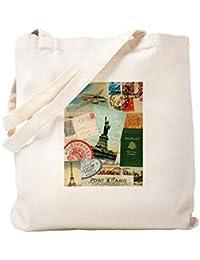 CafePress – ビンテージパスポート旅行コラージュ – ナチュラルキャンバストートバッグ、布ショッピングバッグ S ベージュ 0874311490DECC2