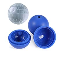 Vinmax Star Wars Ice Hockey Mould 4 Pack Death Star Silicone Sphere Ice Ball Maker Mould Chocolate Maker Blue Silicone Ice Cube Tray for Baking and Cool Drinks