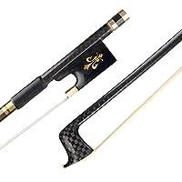 Muslady 4/4バイオリン弓 カーボンファイバー丸棒 エボニーカエルスギナの髪 バランスのとれた