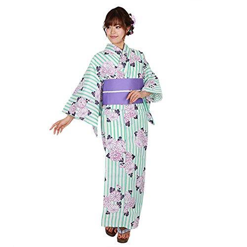 ゆかた屋hiyori 特選平織り浴衣-青縦縞に菊 レディース