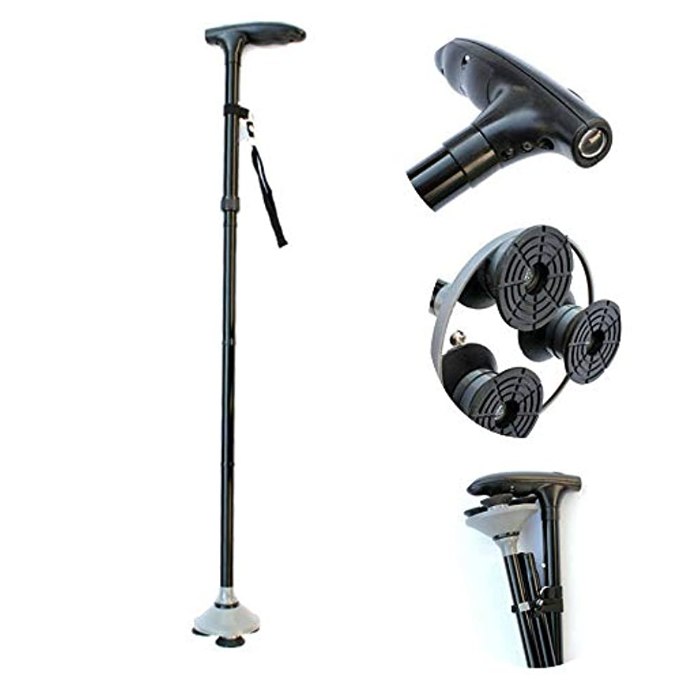 裁量不屈先住民高齢者、身体障害者、身体障害者のための歩行補助装置、安定性とサポートのための調節可能な杖、軽量杖、デラックスブラック