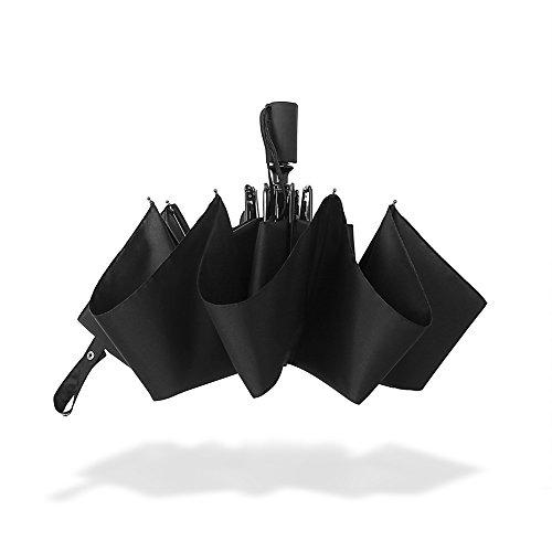 IntiPal 折り畳み傘 軽量 折りたたみ 自動開閉式 ワンタッチ 撥水性 耐風 大型 大きい 丈夫 高密度 シンプル 8本骨 耐風撥水 晴雨兼用 軽量楽々収納ケース付 (ブラック)