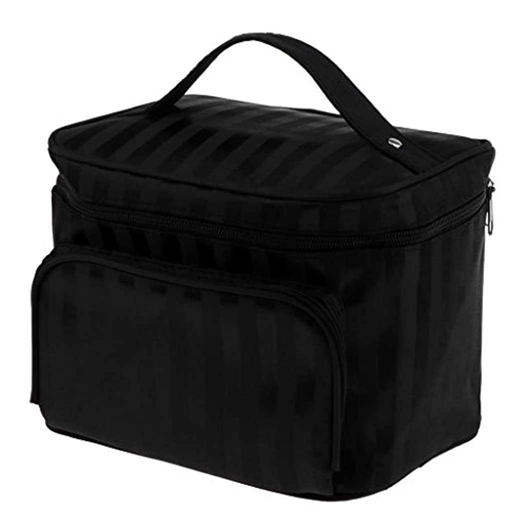 スプレー反応する散髪Perfk メイクアップバッグ 化粧品バッグ 化粧品 コスメ メイクアップ 収納 防水 耐摩耗 旅行用 バッグ メイクボックス 化粧ポーチ 5色選べる - ブラック