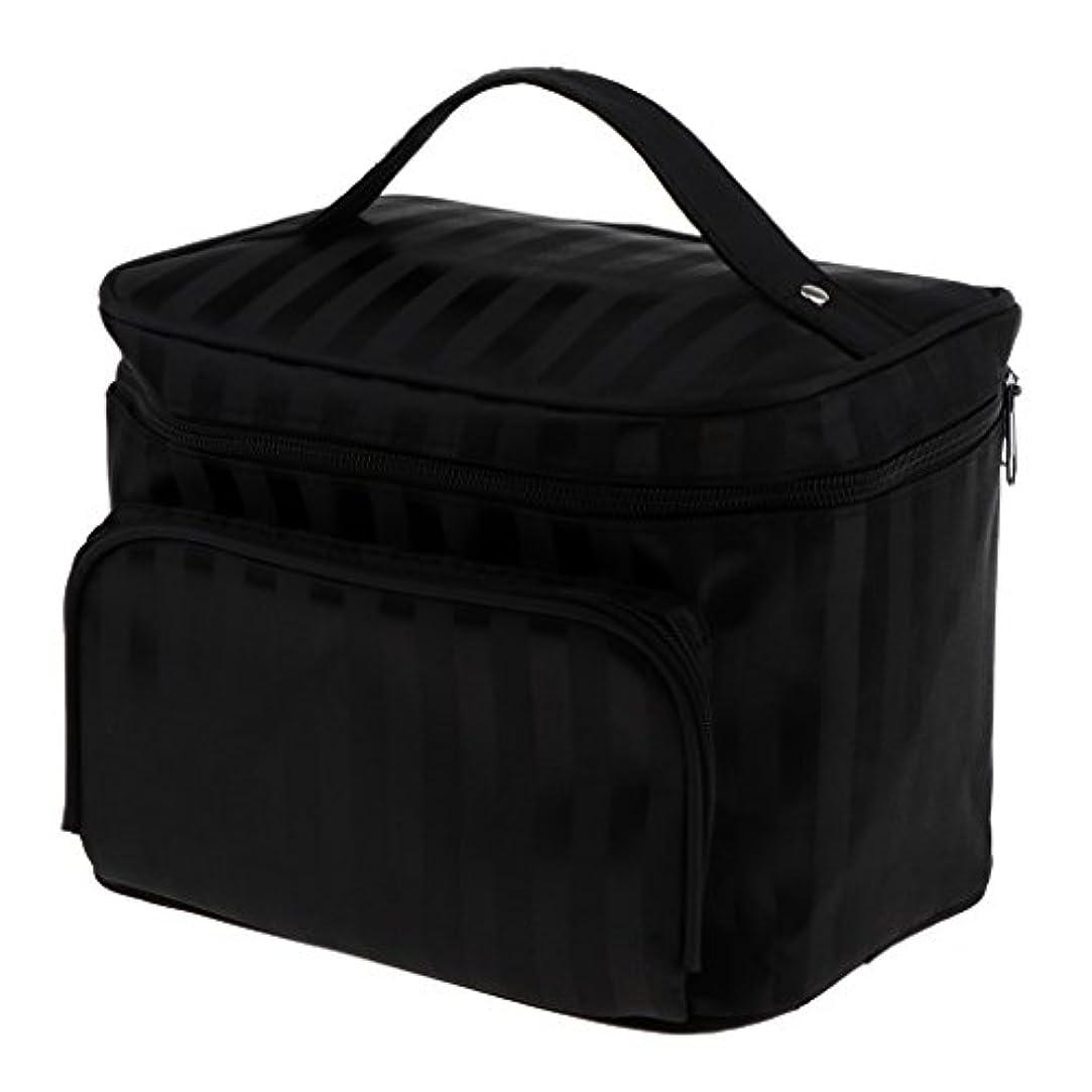 最悪経済地域のPerfk メイクアップバッグ 化粧品バッグ 化粧品 コスメ メイクアップ 収納 防水 耐摩耗 旅行用 バッグ メイクボックス 化粧ポーチ 5色選べる - ブラック