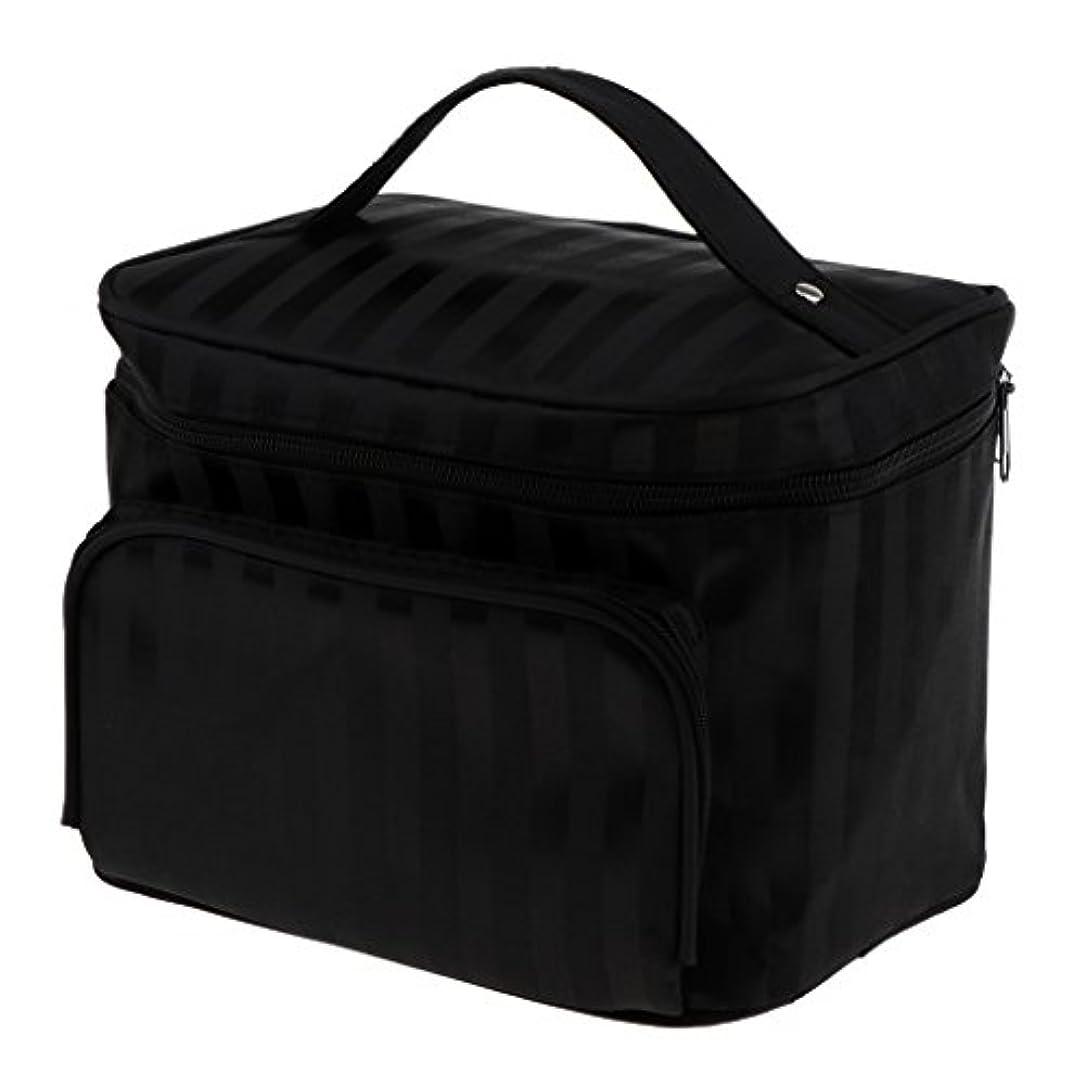 達成可能パプアニューギニア赤面Perfk メイクアップバッグ 化粧品バッグ 化粧品 コスメ メイクアップ 収納 防水 耐摩耗 旅行用 バッグ メイクボックス 化粧ポーチ 5色選べる - ブラック