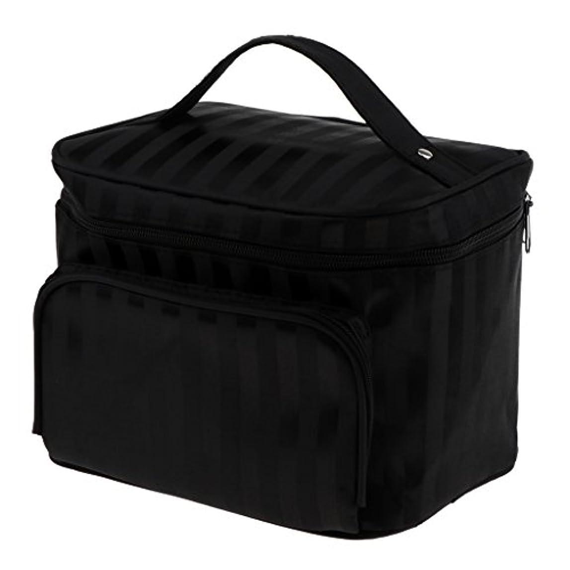 切断するここに時々Perfk メイクアップバッグ 化粧品バッグ 化粧品 コスメ メイクアップ 収納 防水 耐摩耗 旅行用 バッグ メイクボックス 化粧ポーチ 5色選べる - ブラック