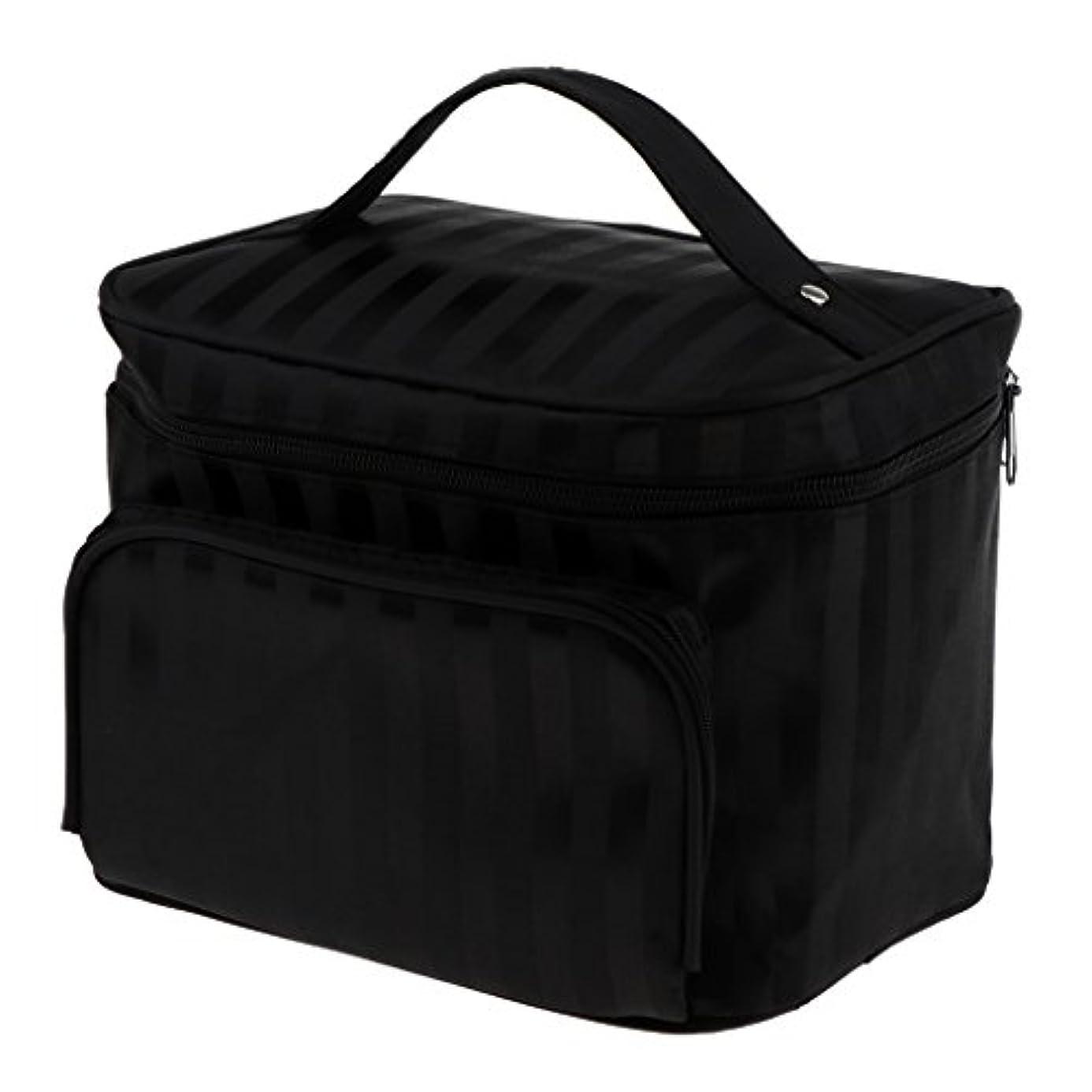 逸脱医薬品許さないPerfk メイクアップバッグ 化粧品バッグ 化粧品 コスメ メイクアップ 収納 防水 耐摩耗 旅行用 バッグ メイクボックス 化粧ポーチ 5色選べる - ブラック