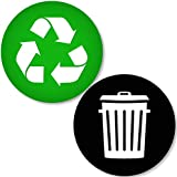 Recycle and Trash Logo Stickers (4 Pack) 4in x 4in - Organize Trash - for Metal or Plastic Garbage cans, containers and Bins
