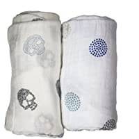 Babio Muslin & Bamboo Cotton Baby Swaddle Blanket Set - 47 inch x 47 inch - White/Blue by Babio