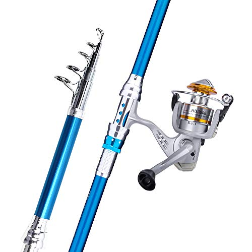 (2.4m/7.87ft) - Rod and Reel Combos Handing Blade Carbon Fibre Telescopic Fishing Pole and Spinning Reels for Saltwater and Fres