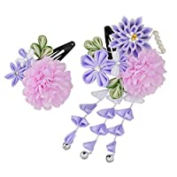 [京のみやび]髪飾り パッチン留め2点セット 菊とマム 紫 パール付 中国製