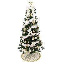 クリスマス屋 クリスマスツリー クリスマスツリーセット 150cm ゴールドアイボリー セットツリー ライト付