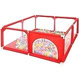 ベビーベビーサークル ボールピットセット 幼児のテント 安全遊戯場ゲート 100個のボールを含む (赤)