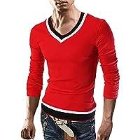 [Flapkash(フラップカッシュ)] Vネック トライカラー カットソー 長袖 シンプル ファッション トップス メンズ