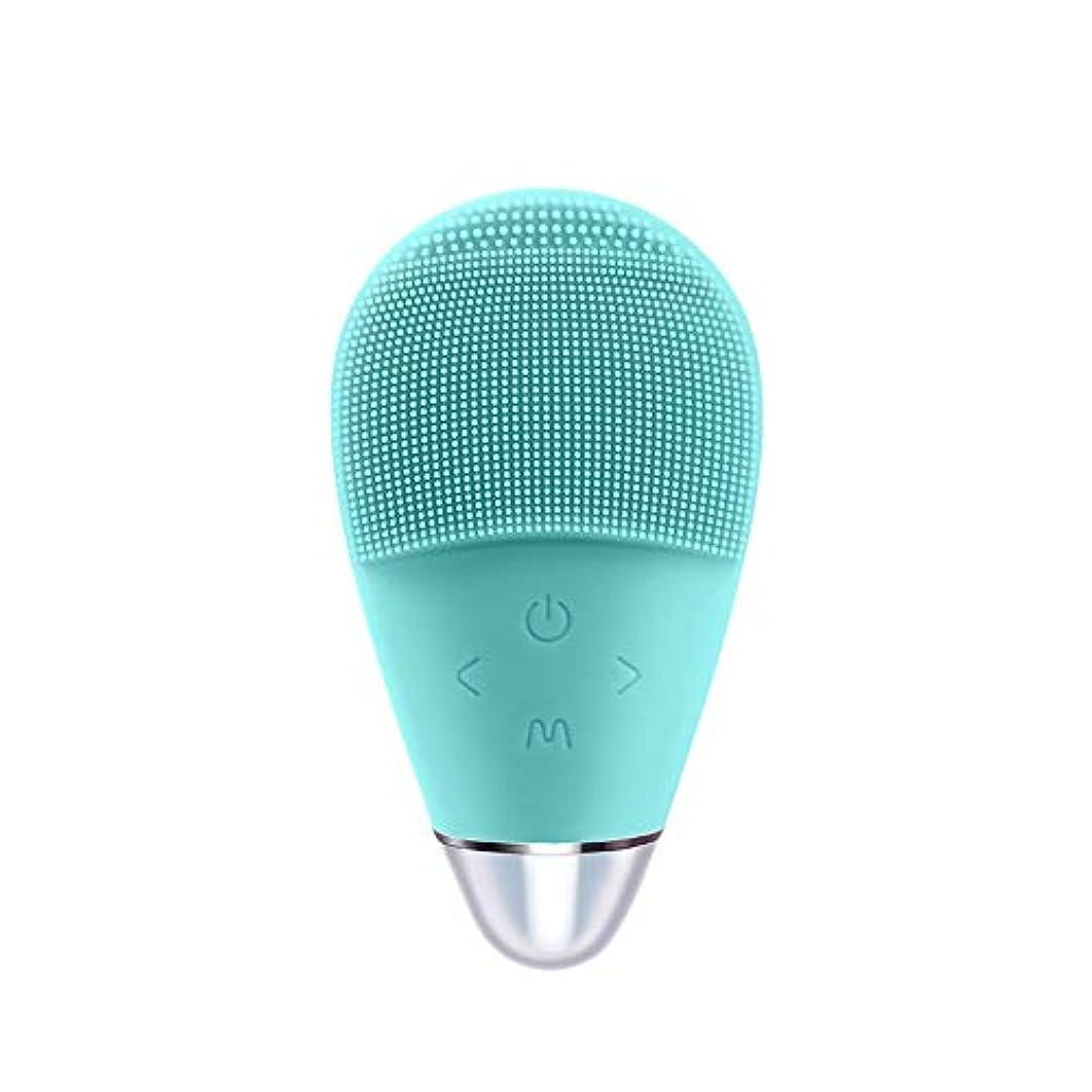 セレナ慢な滑るシリコーン洗浄器具電気洗濯機超音波美容器具顔の毛穴クリーナー (Color : Blue)