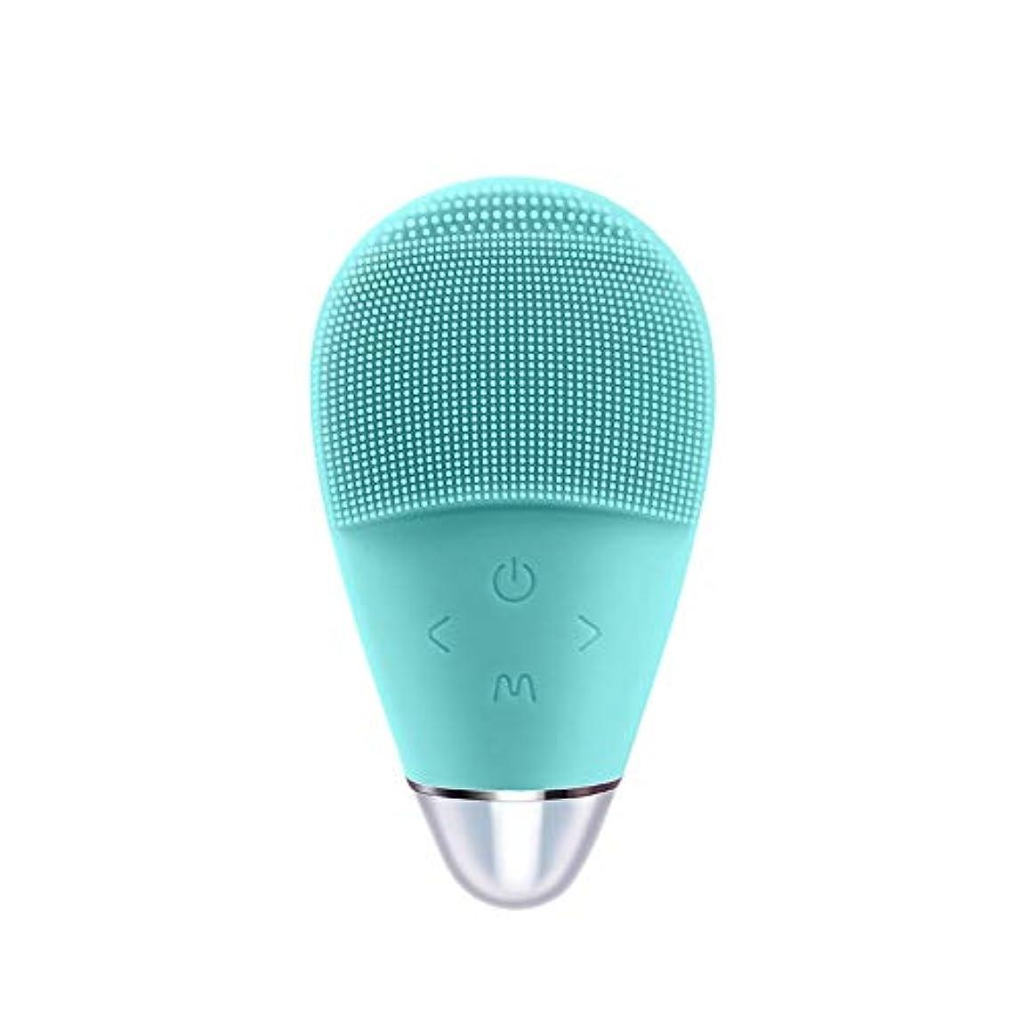 舗装するファンふくろうシリコーン洗浄器具電気洗濯機超音波美容器具顔の毛穴クリーナー (Color : Blue)