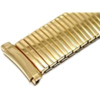 Speidel 15-18mm Gold Stainless Steel Twist O Flex Expansion Watch Band Strap Special Curved Ends!