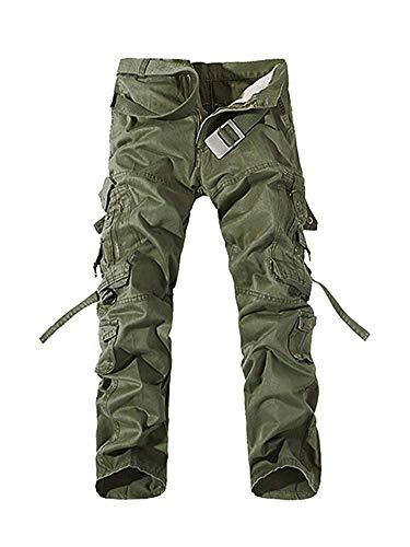メンズ 作業ズボン 作業服 カーゴパンツ ワークパンツ ロングパンツ ゆったり 大きいサイズ 綿100% グリーン 32