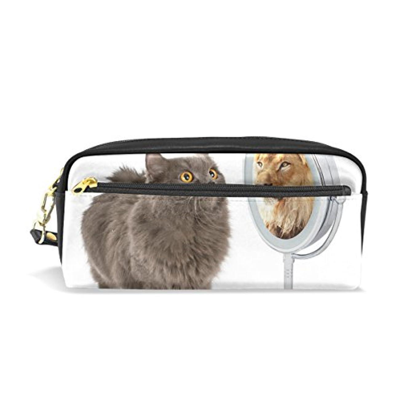 不合格急速な観光AOMOKI ペンケース 化粧ポーチ 多機能バッグ レディース 猫 ライオン