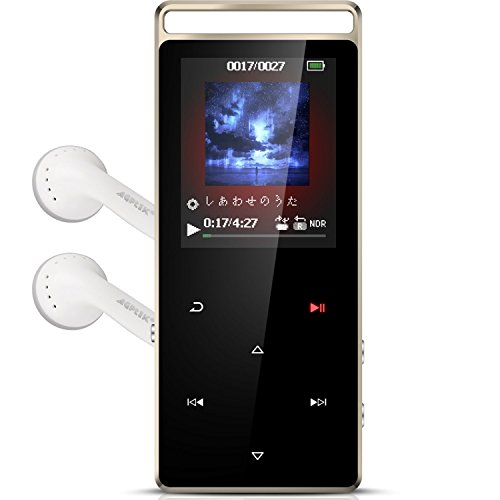 AGPTEK Bluetooth対応 mp3プレーヤー HIFI超高音質 デジタルオーディオプレーヤー 光るタッチボタン 歩数計 合金製 内蔵8GB マイクロSDカード対応 アームバンド付属 ブラック A01T