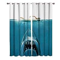 カーテン 水泳レディー 女性 シャーク サメ 遮光カーテン 高断熱 ドレープ贅沢 遮像 昼夜目隠し 防音 省エネ 高級感のある 子供部屋 大人 リビングルーム 祝日贈り物 135cmx245cmx2