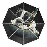 折りたたみ傘 自動開閉 レディース 軽量 携帯 日傘 ワンタッチ UVカット 頑丈な8本骨 耐強風 グラスファイバー 収納ケース付 犬 ペット 個性的 ブラック