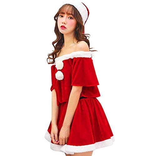 X&ZのSHOP サンタ コスプレ サンタワンピース サンタクロース 衣装 クリスマス レディース ワンピース 女の子用 パーティー かわいい人気 セクシー (フリー)
