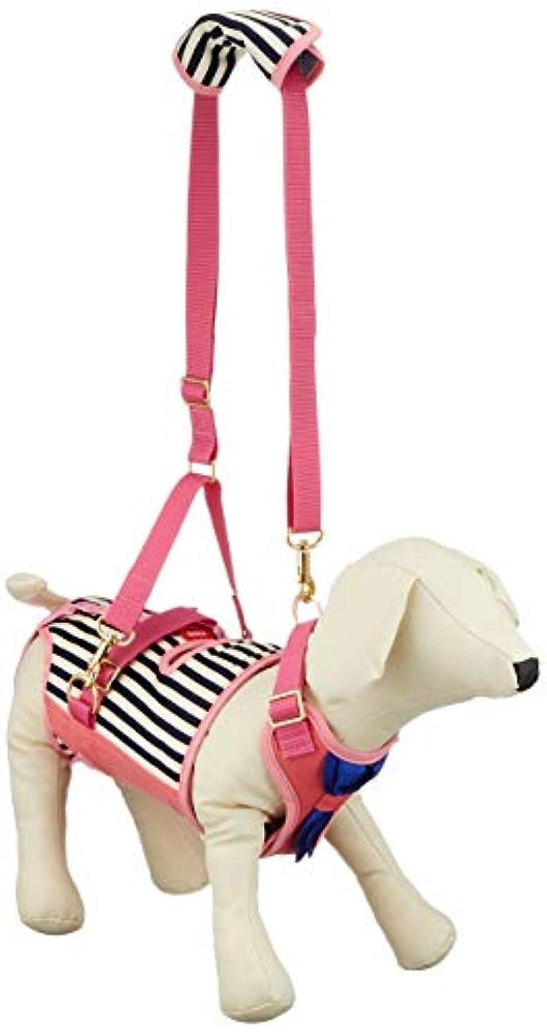 誕生ナチュラルどちらかWith(ウィズ) 歩行補助ハーネス LaLaWalk 小型犬?ダックス用 サポーターパッド付 チェリーマリン M サイズ