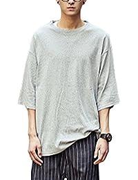 (スノーラル) SNOWRAL カットソー Tシャツ オーバーサイズ ゆったり 良質素材 6分袖 無地 3カラー ブラック ホワイト グレー
