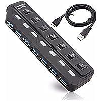 1stモール USB3.0 7ポートハブ USB3.0高速ハブ 軽量・コンパクト 増設 パソコン PC スマホ iPhone ST-USB3HUB7P (7ポート)