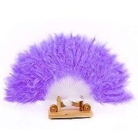 SGings 女性のハンドヘルドファンフェザーファン用ダンス小道具ハンドグースフェザー折りたたみファンウェディングダンスパーティーウエディング伝統的な絶妙なギフトパーティーの装飾 (紫の)