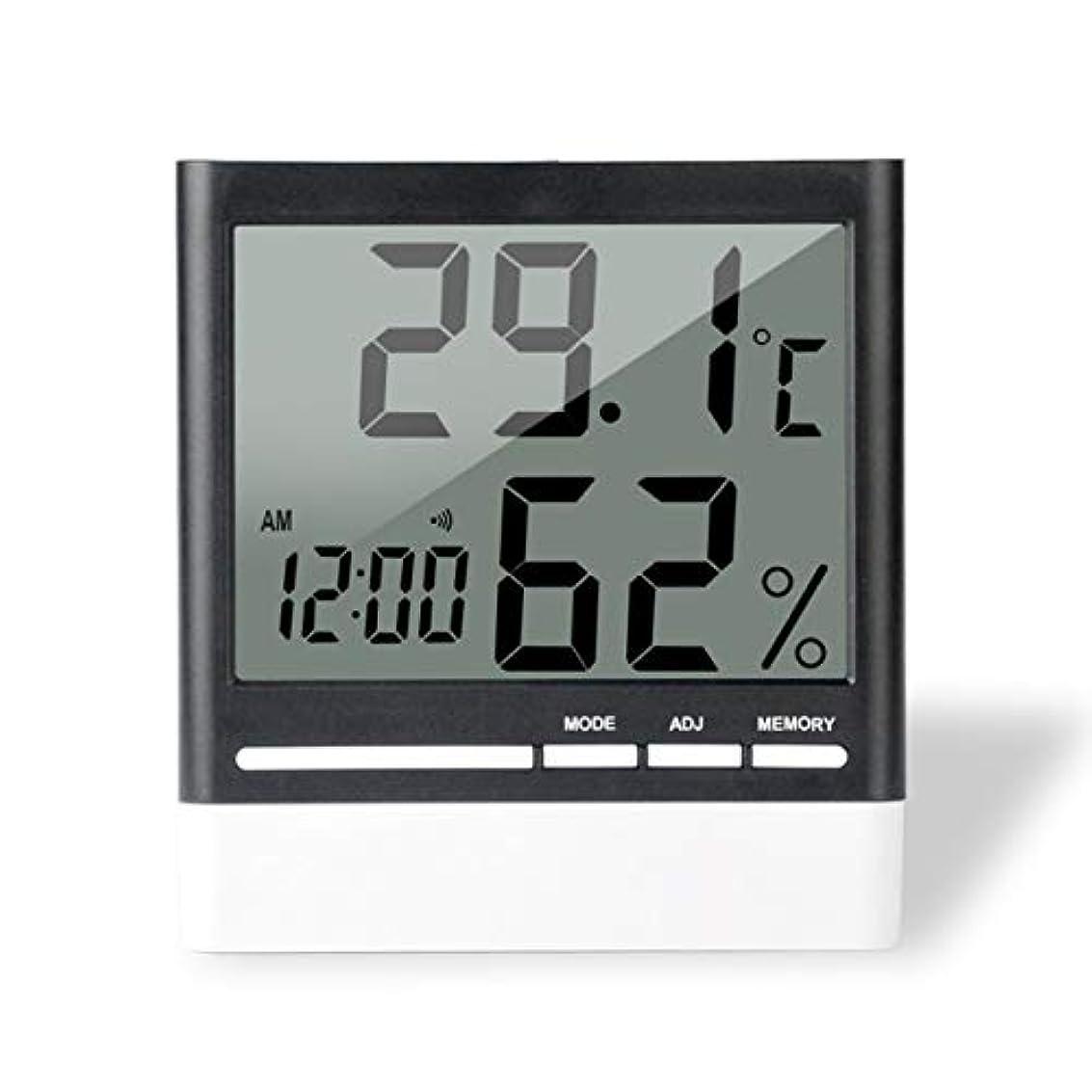 ヒューズ補体独裁者Saikogoods 電子体温計湿度計 デジタルディスプレイ 温度湿度モニター アラーム時計 屋内家庭用 ブラック