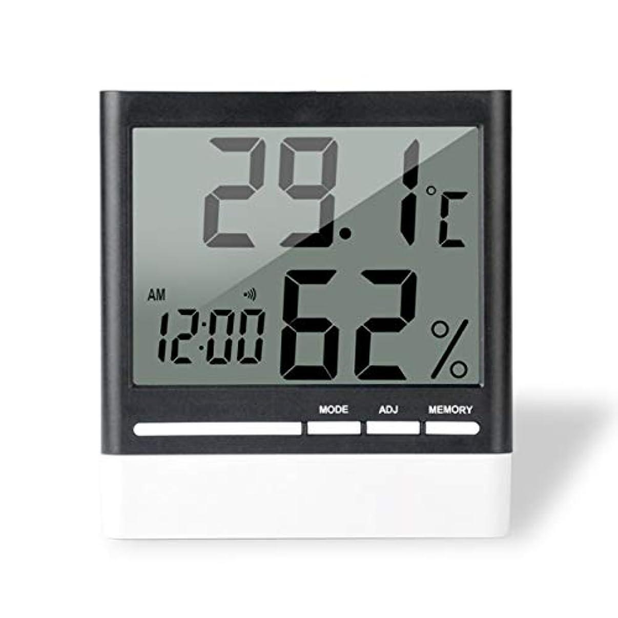 注目すべきどんよりした預言者Saikogoods 電子体温計湿度計 デジタルディスプレイ 温度湿度モニター アラーム時計 屋内家庭用 ブラック