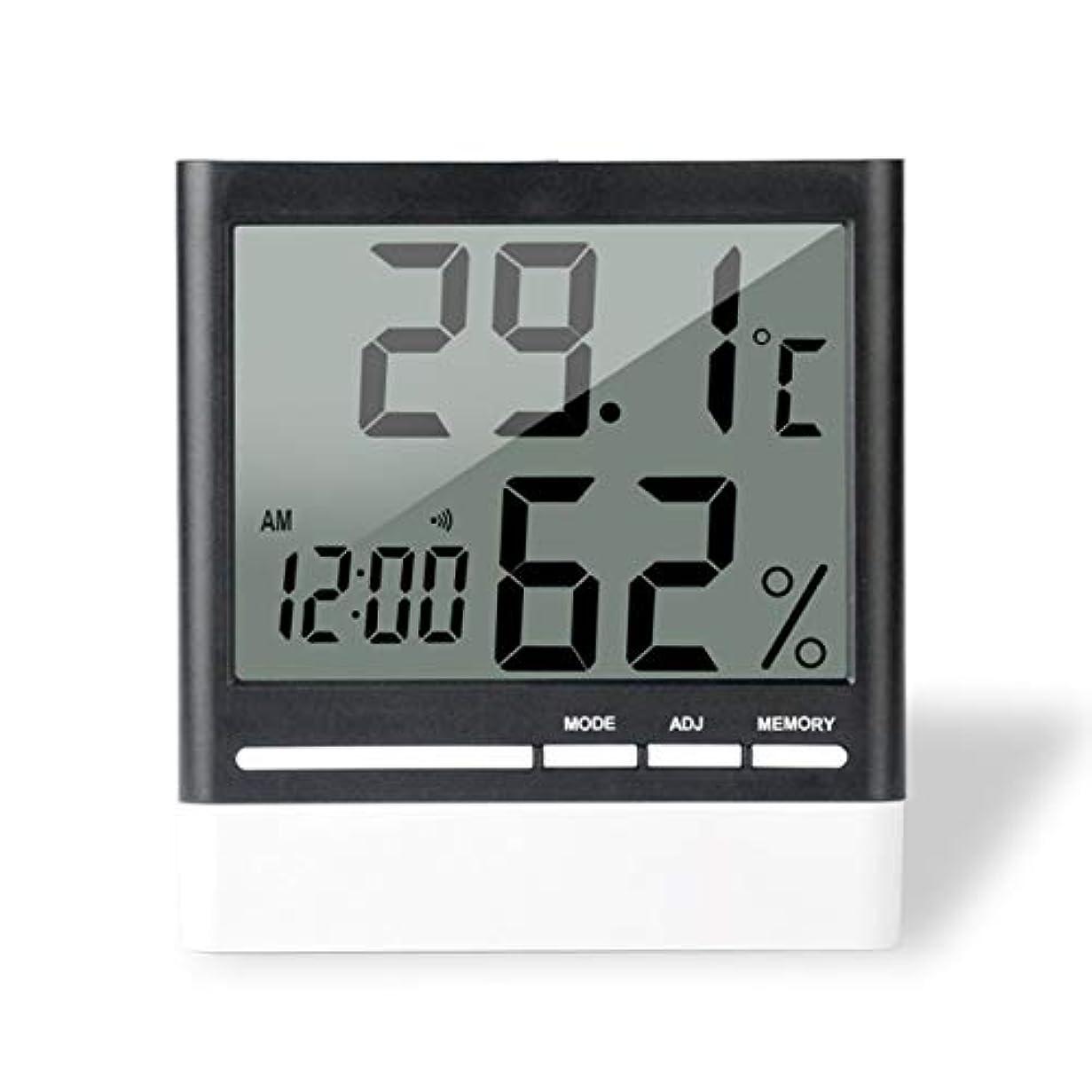 気づくフレッシュジョリーSaikogoods 電子体温計湿度計 デジタルディスプレイ 温度湿度モニター アラーム時計 屋内家庭用 ブラック