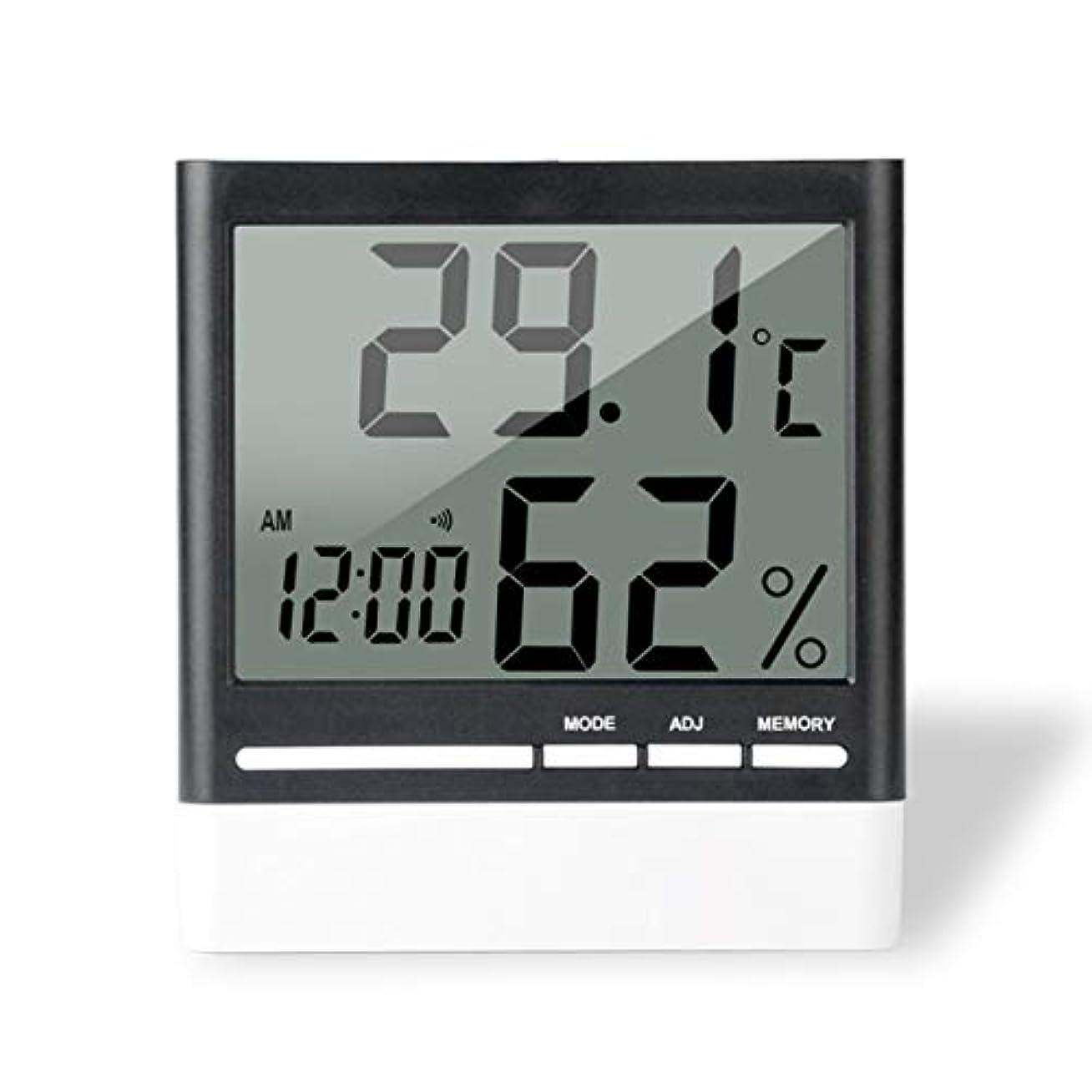 進捗乏しいどうやってSaikogoods 電子体温計湿度計 デジタルディスプレイ 温度湿度モニター アラーム時計 屋内家庭用 ブラック