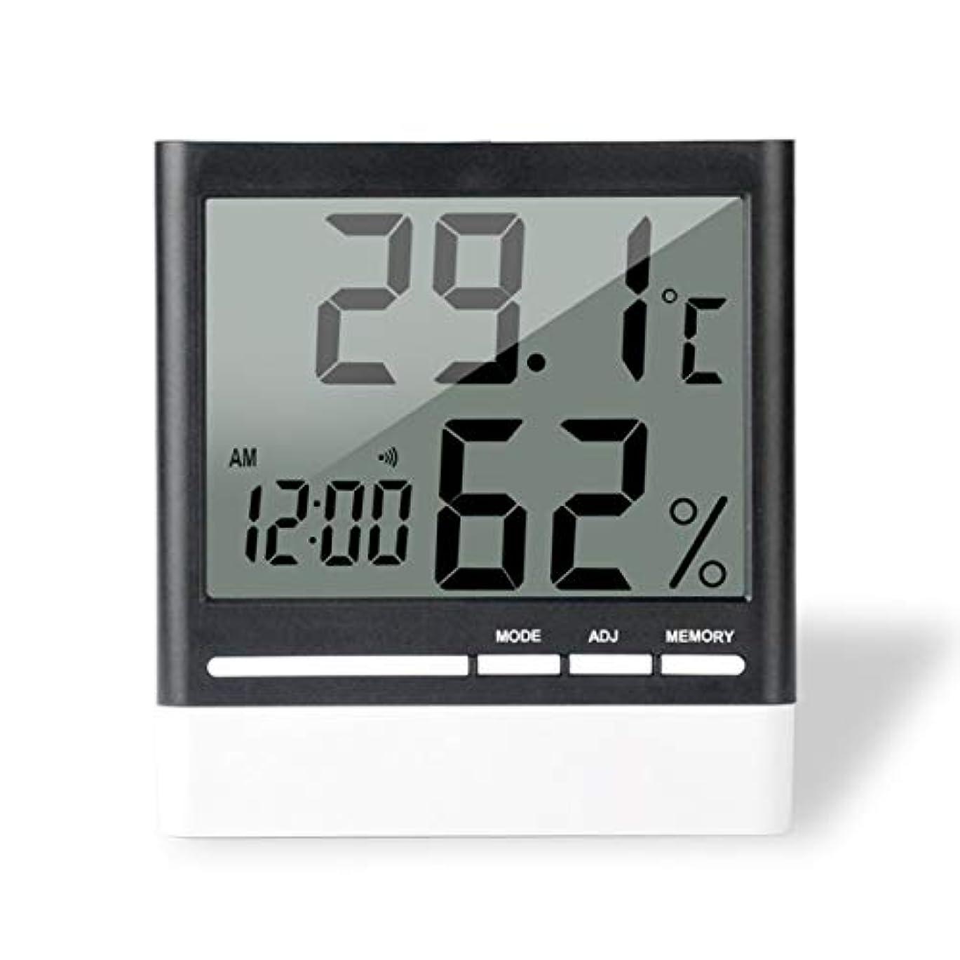 値する考古学別れるSaikogoods 電子体温計湿度計 デジタルディスプレイ 温度湿度モニター アラーム時計 屋内家庭用 ブラック